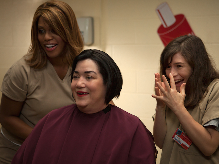 "Laverne Cox, Lea DeLaria, and Yael Stone in season 3 of Netflix's ""Orange is the New Black."""