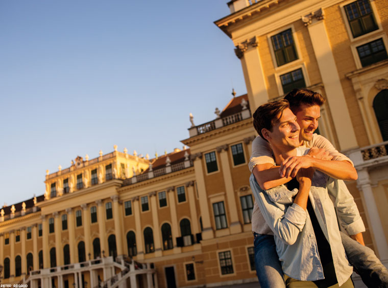 A happy couple basks in the Viennese sunset.
