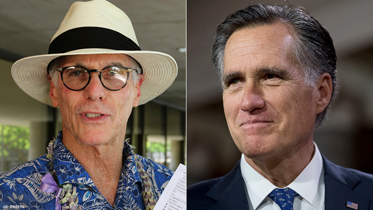 Fred Karger (left) and Mitt Romney