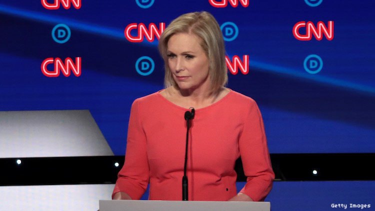 """Kirsten Gillibrand says """"gay"""" for first time at CNN Democratic presidential debates."""