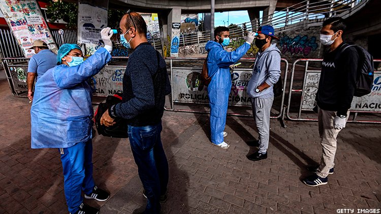 Bogota health workers check residents for virus