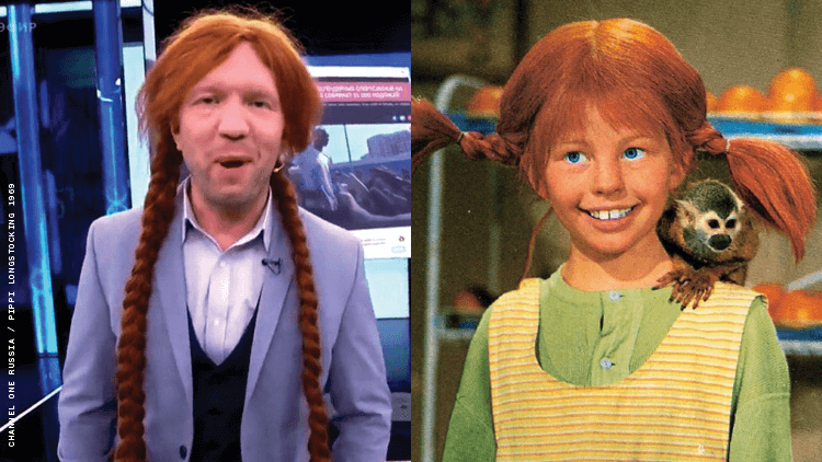 Anatoly Kuzichev donned a wig on the July 26 show to mock Hubbard but ends up looking like Pippi Longstocking.