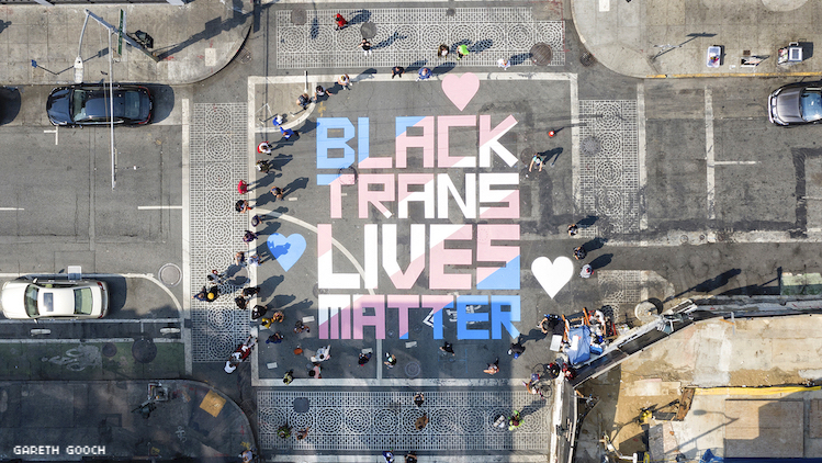 Black Trans Lives Matter Mural Painted in San Francisco's Transgender District to Celebrate Compton Cafe Riots