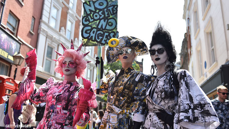 Drag queens in a mock protest.