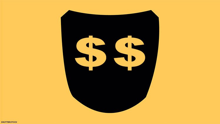Grindr logo with money signs.
