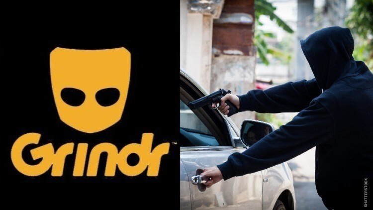 Grindr logo and a car jacking.