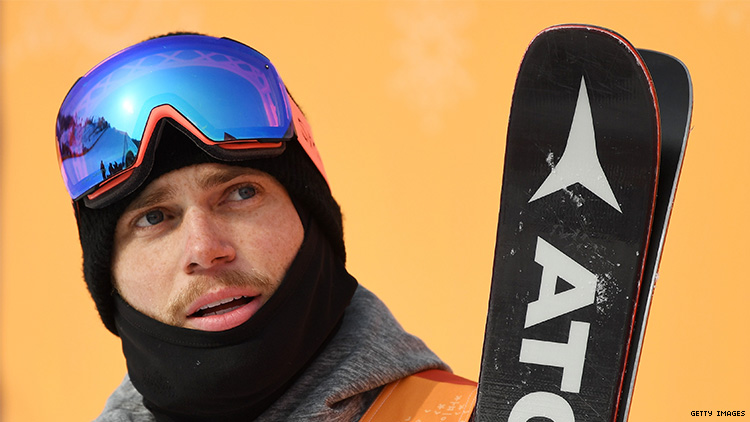 Gus Kenworthy in his skiing gear.