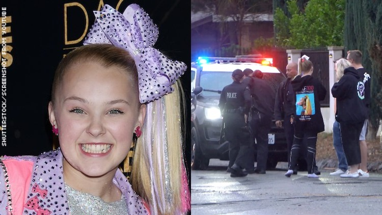 JoJo outside her home after being swatted