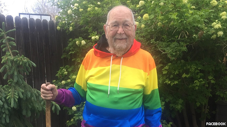 92-year-old World War 2 veteran comes out of closet and is rainbow proud ever since.