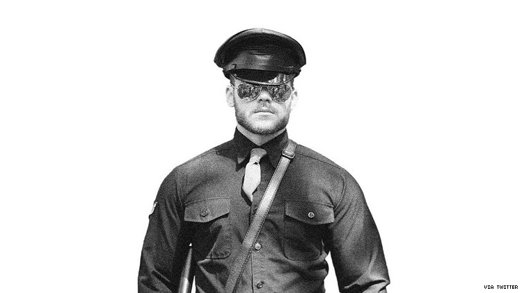 Matthew Camp dressed as a Tom of Finland illustration.