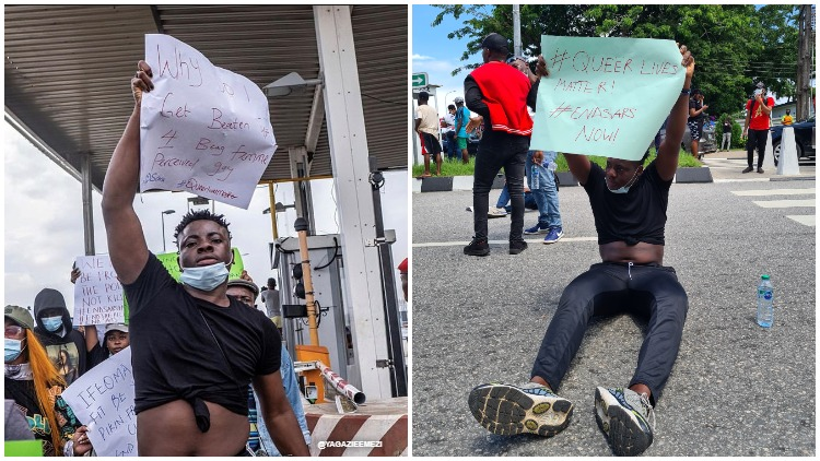 Nigerian LGBTQ+ activist Matthew Blaise joins protests calling for the end to SARS