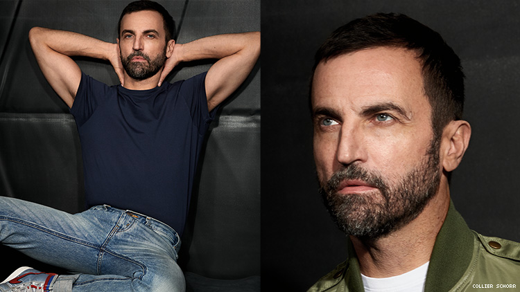 A diptych of portraits of Nicolas Ghesquiere.