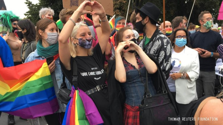 Demonstrators marched from Germany to Poland in solidarity with the oppressed Polish LGBTQ+ community.