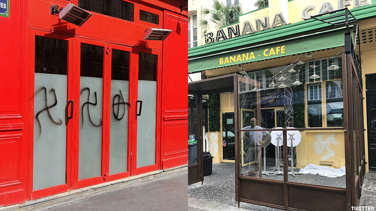 Vandals painted swastikas and Celtic crosses on two gay bars in Paris, France, over the last week.