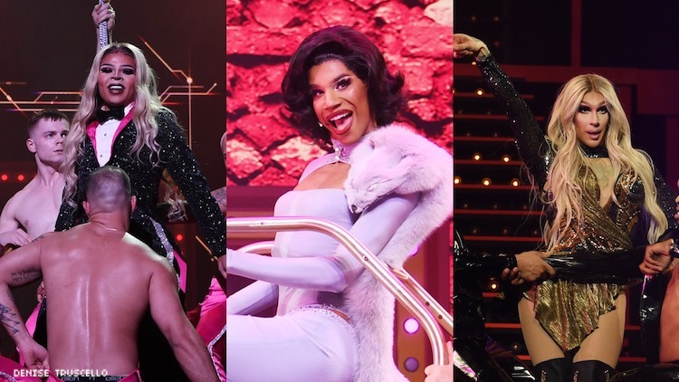 A triptych of photso from Drag Race: Live in Las Vegas