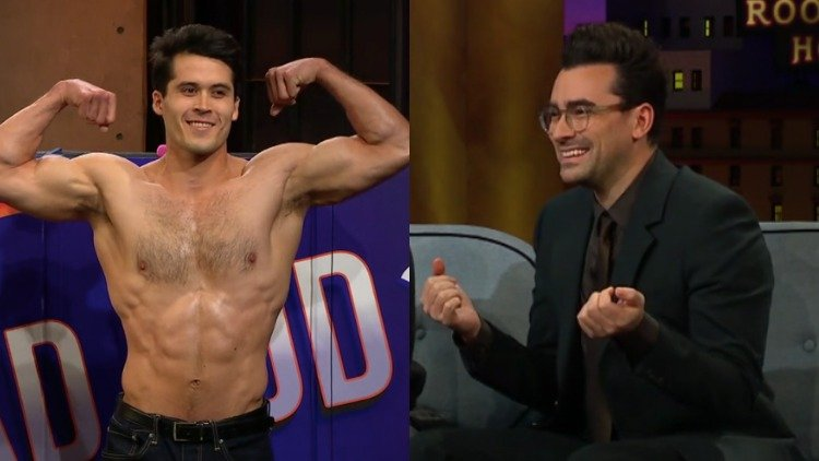 Dan Levy and a shirtless guy.