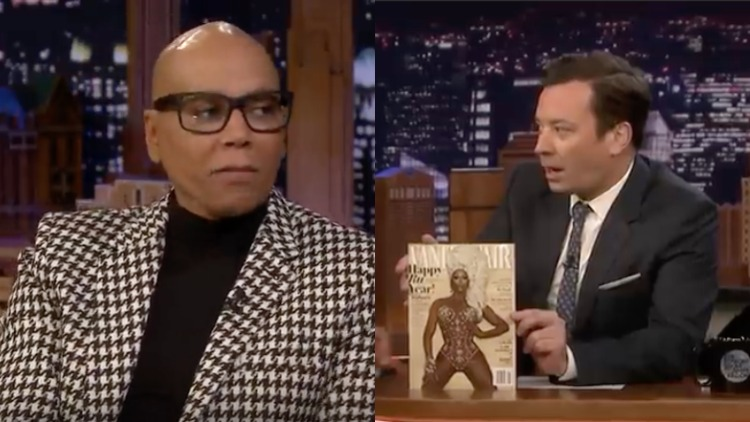 RuPaul and Jimmy Fallon in a diptych.