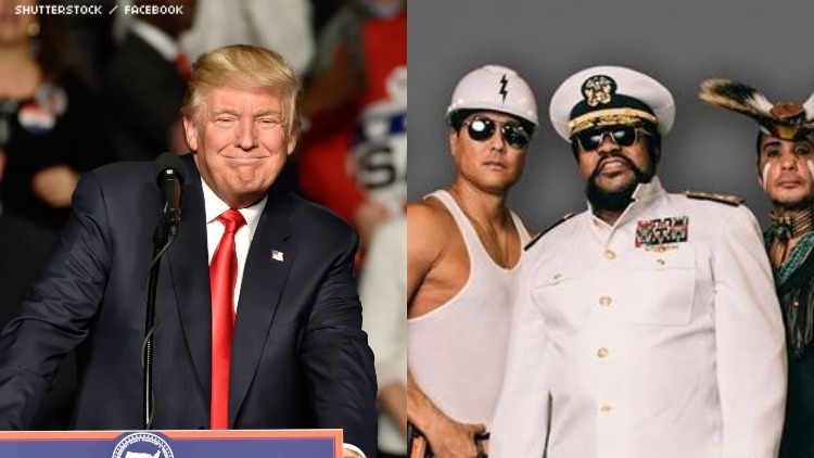 Donald Trump in a dip with The Village People.