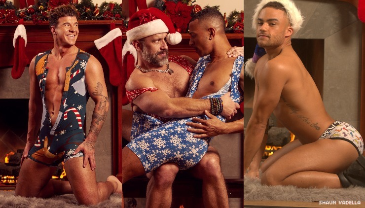 A triptych of porn performers styled in Christmas garb.