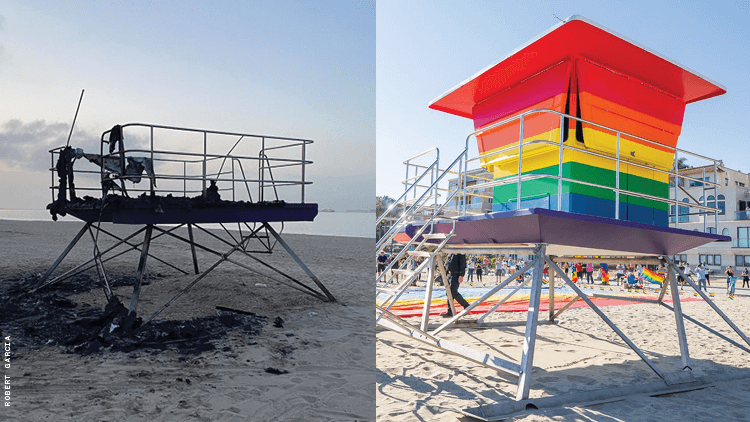 Long Beach Christens Rainbow Pride Lifeguard Tower Replacement