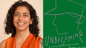Anurhada Bhagwati, and the book cover for Unbecoming