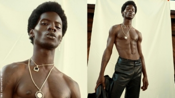 Male model Adonis Bosso shirtless.