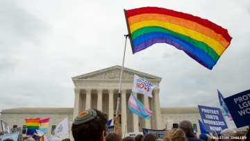 LGBTQ+ protest at the Supreme Court house.