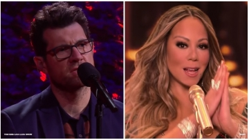 """Mariah Carey teared up after hearing Billy Eichner sing """"Miss You Most (At Christmas Time)"""" on the Late Late Show."""