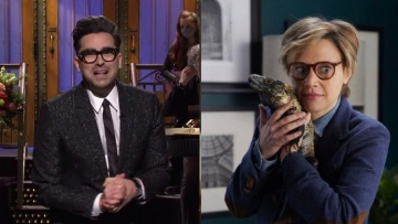 Dan Levy, Kate McKinnon and Iguana