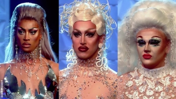 Tayce, Ellie Diamond and A'whora from Drag Race UK