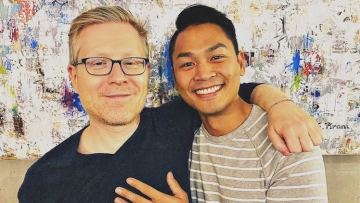 Anthony Rapp and his fiance for their second engagement.