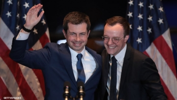 Pete and Chasten Buttigieg giving final speeches for Presidential Candidacy
