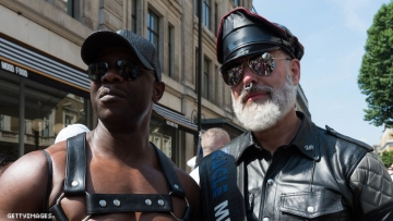 Leathermen on the street.