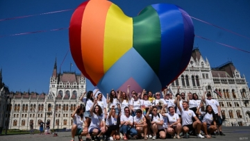 Hungarian LGBTQ+ Activists Fly Giant Rainbow Heart in Protest
