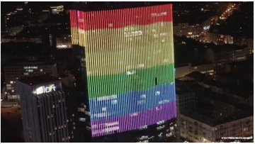 The Gulliver Mall projects rainbow pride colors on its building in honor of Ukraine Pride and International Coming Out Day.