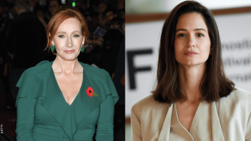 jk rowling and Katherine Waterston