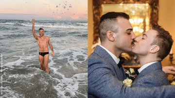 Matthew Mitcham with husband.