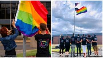 Magic City Equality flies a rainbow flag in front of the city hall in Minot, North Dakota