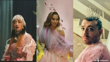 A triptych of queer people giving an alternate Qween's Speech.