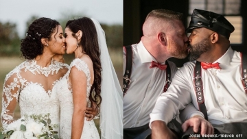 Two same-sex couples kissing at their weddings.