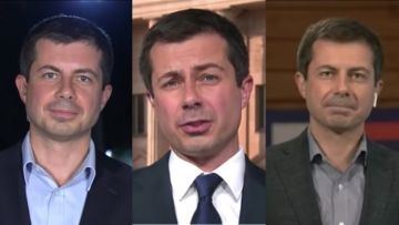 Three photos of Pete Buttigieg