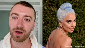 Sam Smith and Lady Gaga in diptych.