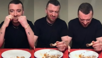 Sam Smith eating hot wings.