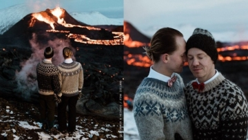 Gay Couple Marries in Front of Erupting Volcano In Iceland