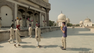 James of 32nd The Amazing Race on a challenge in india