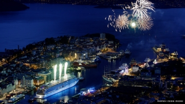 Viking Star in Bergen Norway at night with fireworks