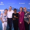 2018 OUT Fashion Vanguard winner Kris Harring (center) with the judges, Parke Lutter, Aaron Hicklin, Cynthia Tenhouse, and Ronen Jehzkel