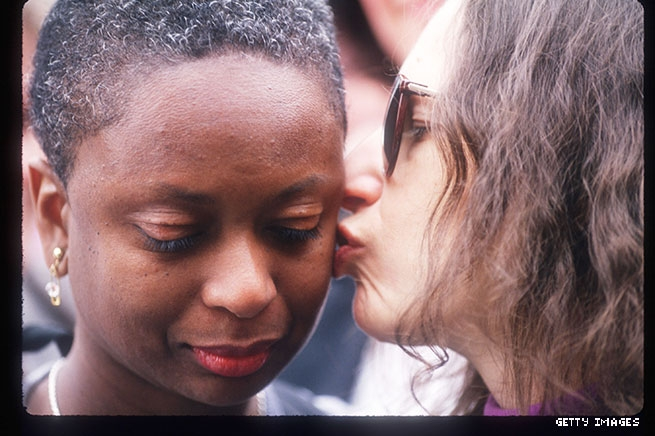 1993 - A lesbian couple at the Gay Rights March in Washington, DC
