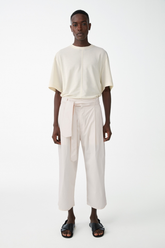 Cotton Belted Wide-Leg Cropped Pants
