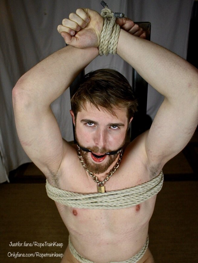 A guy bound and gagged.
